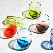4PC Hand Made Colored Glass Water Drinking Glasses Beverage Goblet/Tumbler Set