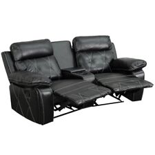 Bowery Hill 2 Seat Leather Reclining Home Theater Seating In Black