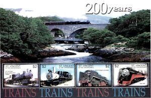St. Vincent 2004 - SC# 3212 Steam Trains Locomotive - Sheet of 4 Stamps - MNH