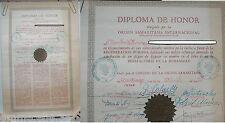 DIPLOMA MEMBRO DE HONOR - ORDEN SAMARITANA INTERNACIONAL - SANTIAGO DEL CHILE -