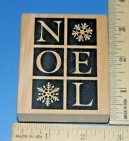 """NOEL"" Winter Holiday Christmas Foam & Wood Rubber Stamp"