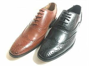 New Mens Brogue Spat Dress Party Office Patent Lace up Oxford Shoes Black/Brown