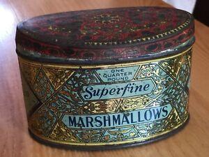 Vintage Marshmallow Tin One Quarter Pound Woolworth Co Woolco New York