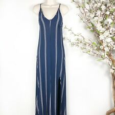 Olivaceous Maxi Dress Strappy Navy White Stripe Size Small Side Slit Open Back