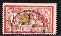 France (Morocco) 1 Piastres on 1 Franc Stamp c1902-10 Used (small thin) (191)