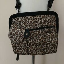 Chico's Black Brown Tan Faux Leather Fabric Crossbody Purse Bag