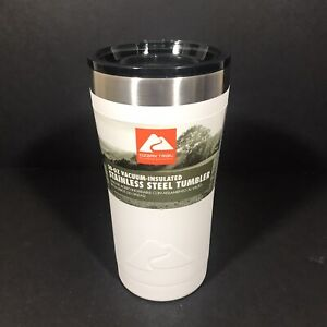 Ozark Trail 20 OZ Vacuum Insulated Stainless Steel Tumbler White Double Wall
