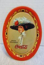 """Vintage 1970s Oval Coca Cola Lady Tin Tip Tray 1909 Small 6.2"""" x 4.4"""""""