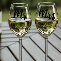 Mr & Mrs Wine Glass Decals Stickers Wedding Anniversary Gift