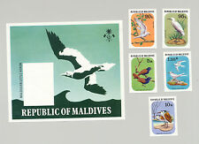 Maldives #696-700 Birds 4v & 1v S/S Imperf Proofs from set