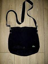 Lacoste black canvas messenger shoulder gym school laptop bag