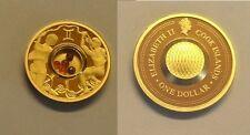2003 Cook Is. Gold plated Silver w/Gemstones $1 Zodiac- Gemini/Agates