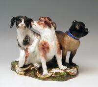 FRÜHE MEISSEN TIER FIGUREN GRUPPE HUNDE MOPS 3 DOGS KÄNDLER UM 1830-1840