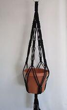 Macrame Plant Hanger 30in Vintage BLACK