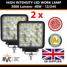 More details for 12v 24v 2 bright square 48w led work lamp flood light tractor recovery truck van