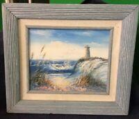 "Original Oil On Board Painting, 10 X 12"". Light House Scene, Artist Signed,"