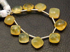 Natural Australian Yellow Opal Faceted Cushion Briolette Gemstone Beads