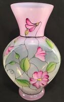 """Fenton Art Glass Hand Painted """" Stained Glass """" Vase In Original Box"""