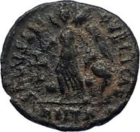 VALENTINIAN II Ancient 388AD Antioch Roman Coin w VICTORY ANGEL & CROSS i67126