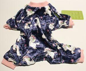 "Fitwarm Velvet Unicorn Rainbows Dog Pajamas Clothes Jumpsuit SMALL BREEDS 10"""