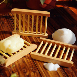 Wooden Soap Dish Holder Rack Storage Tray Bathroom Shower Drain Plate Container