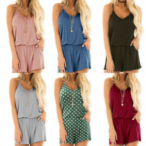 Women Camouflage Polka Dot Solid Shorts Vest Sleeveless Jumpsuit Casual Playsuit