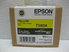 Epson Yellow Ink 3800 New T5804 Genuine ** SHIPS OVERBOXED ** Date: 2018