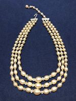 Vtg Necklace Faux Pearl Graduated Oval Beads Crystal Glass Beaded Triple Strand