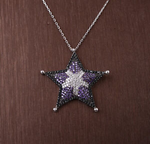 STAR AMETHYST .925 SOLID STERLING SILVER NECKLACE #33924