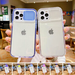 For iPhone 13 12 11 Pro Max XS XR 78 Slide Camera Lens Protect Clear Bumper Case