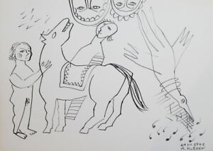 1991 ABSTRACT SURREALIST NUDE FIGURES HORSE BIRD INK PAINTING SIGN.