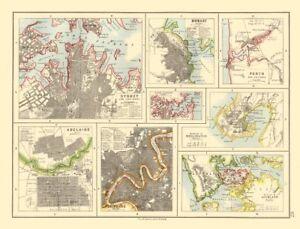 AUSTRALIA NZ CITIES. Sydney Hobart Perth Adelaide Brisbane Auckland 1920 map