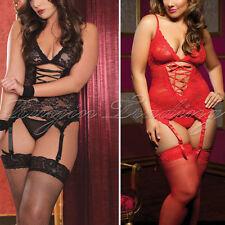 Women Sexy/Sissy Lingerie Lace Babydoll G-String Thong Underwear Nightwear S-3XL