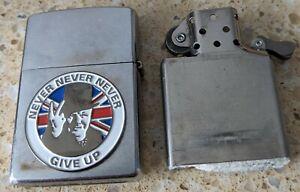 Original Zippo Chrome Lighter -Customised for Winston Churchill, WW2, WWII + box