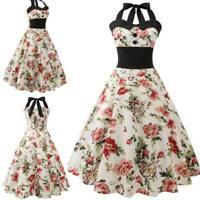 Swing Party Evening halter Dress Sleeveless floral women Summer vintage Retro