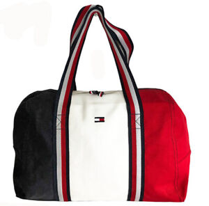 Tommy Hilfiger Gym Travel Men Women Colorblock Navy Red White Bag Tote Duffel