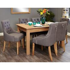 Mobel solid modern oak furniture medium dining table and six luxury chairs set