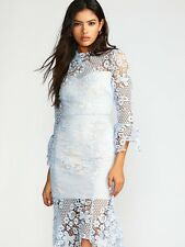 Free People Women's La Spezia lace crochet floral blue nude dress Size XS