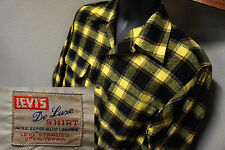 Vintage Levi's Big E Deluxe Shadow Plaid Wool Board Loop Collar Vtg Shirt   s40