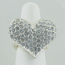 Heart Pave Stretch Ring Clear Acrylic Rhinestone Bling Cocktail One Size NEW