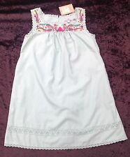 NWT Juicy Couture Girls Age 8 Turquoise Sleeveless Embroidered Cotton Sun Dress