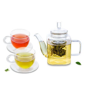 5in1 Teaset - 375ml Square Shaped Heat Resistant Teapot +2x100ml Cups +2x Saucer