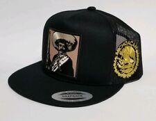 Emiliano Zapata Michoacan Hat Black Mesh Trucker Snap Back Adjust New 2Logos