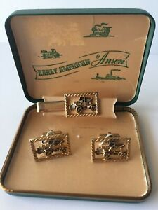 VINTAGE Early American by Anson Cuff Links & Tie Tack Cars Gold Original Box