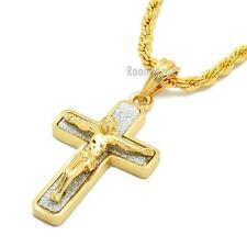 """NEW HIP HOP GOLD 2PAC CROSS PENDANT W 3mm 24"""" BRASS ROPE CHAIN NECKLACE KC432G"""