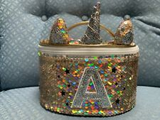 JUSTICE UNICORN INITIAL (A,B,C,K,L,M,S) LUNCH TOTE SHIMMERING GOLD SEQUINS WOW!!