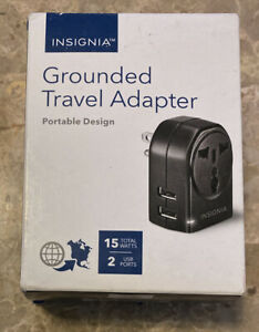 Insignia- Wall Charger - Grounded Travel Adapter With 2 USB Ports - Black