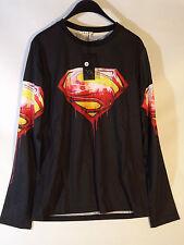 Superman long sleave t shirt top gym superhero DC Comics Muscle Mens top
