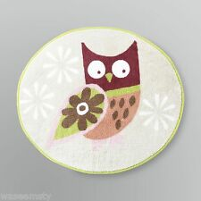 Whimsical Colorful Owl Bird Hoot Oval Bath Rug Mat Brown Blue Green