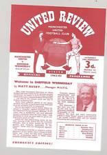 Manchester United v Sheff. Wed 1962/63 POSTPONED PROGRAMME - POSTFREE to UK